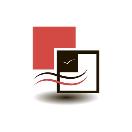 Logo black and red of geometric shapes and waves with a marine theme vector graphics