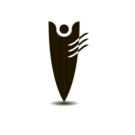 Stylized human figure for the logo. One half in the form of wings.
