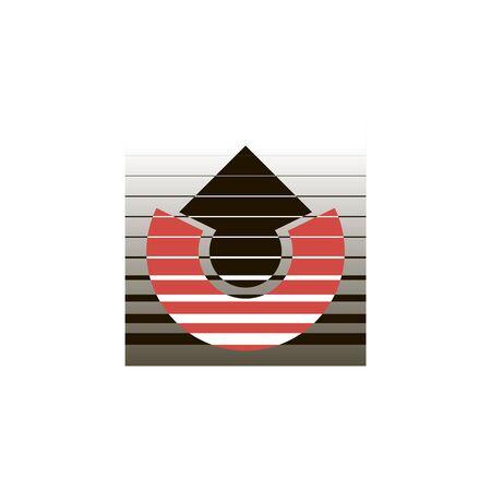 Logo red semicircle and black arrow with horizontal stripes Çizim