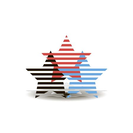 Three perforated stars red black and blue with falling shadow Çizim