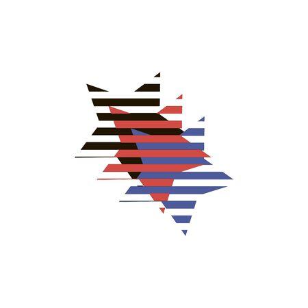 Striped three stars red, black, blue overlaid pattern or logo for textiles Çizim