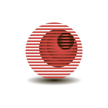 a circle of red stripes and several circles of gradient bulging black circle abstract composition for the logo