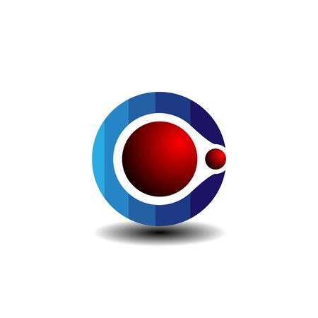 Red ball large in a blue gradient circle rolling into a small red ball logo Çizim