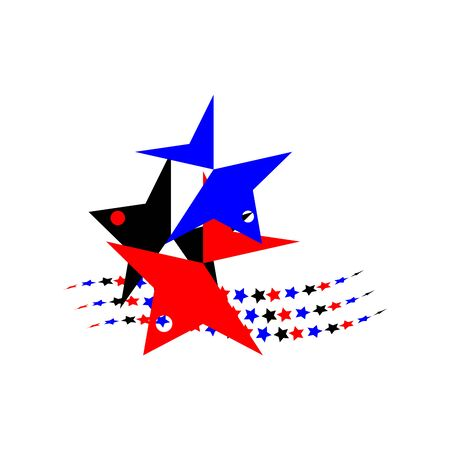 Birds abstract in the form of stars black, red, blue, spread out in different directions, on star waves