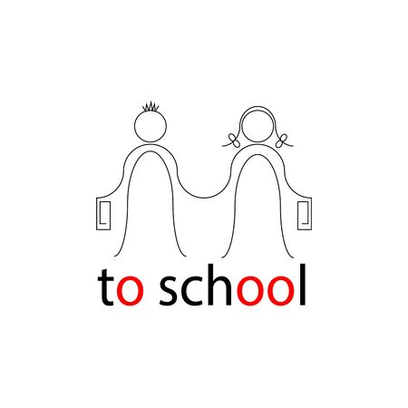 to school drawing of a boy and a girl holding hands, a joyful couple walking for knowledge Çizim