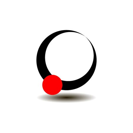 A small red ball faces a black large abstract ring. Çizim