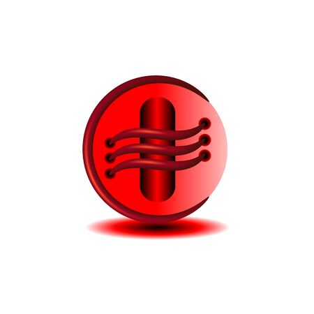 bright red sphere abstract button shape with elements on the surface Çizim