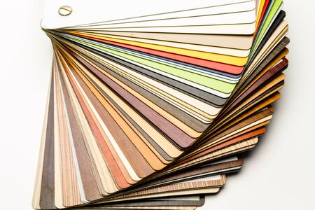 Samples of the color palette of laminated panels for the manufacture of furniture background for advertising