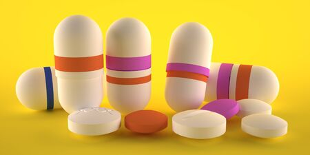 Capsules and pills for colds, white and color on a yellow background