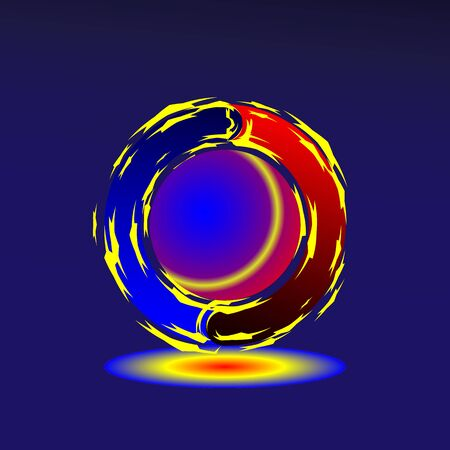 Starry circles bright yellow move around a red-blue ball on a dark background.