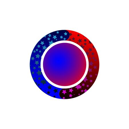 Bright starry circles move around a red-blue ball on a dark background vector illustration