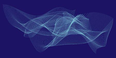 Abstract linear linear cyan vector illustration on dark blue background Çizim