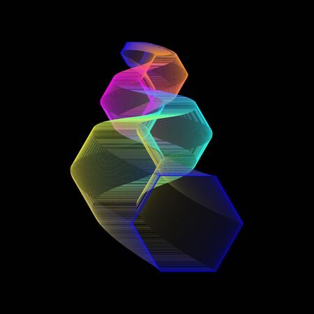 zigzag made of honeycomb colored shapes goes into perspective on a black background