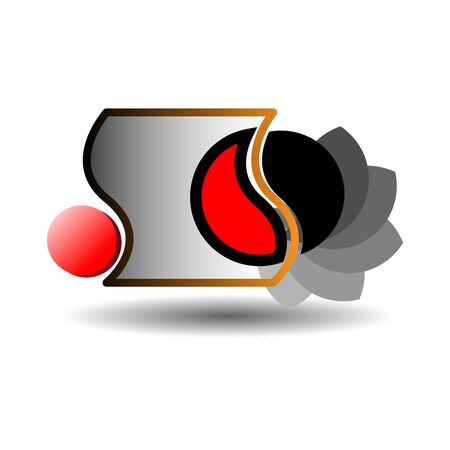 Logo of black and red petals in a curved frame and a red circle Foto de archivo - 137888700