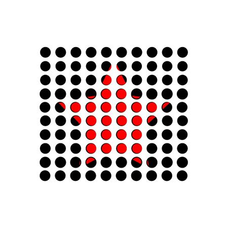 Red star under black perforated circles  イラスト・ベクター素材