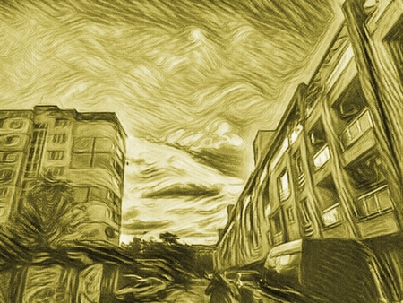 Dusky Green- Yellow Cityscape with street, cars and buildings, before the nightfall time