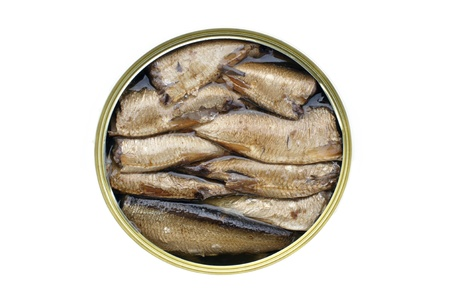 beheaded: Top view of sprats canned fish isolated on white background