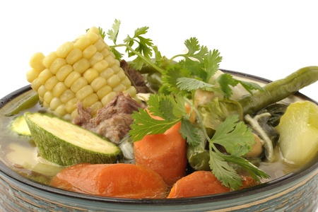 tantalizing: Closeup of fresh bowl of beef and vegetable soup Stock Photo