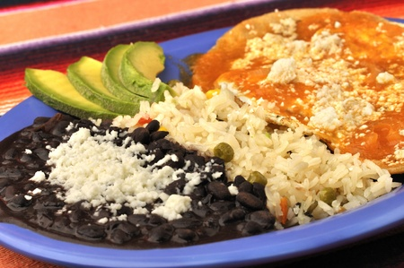 Eggs, tortilla, rice and beans on breakfast plate