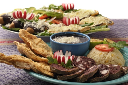 Two large plates of assorted Mexican food Stock Photo - 10914303