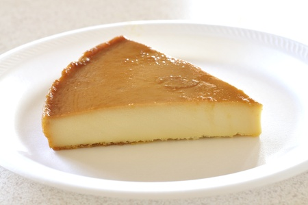 Slice of Mexican flan on white plate