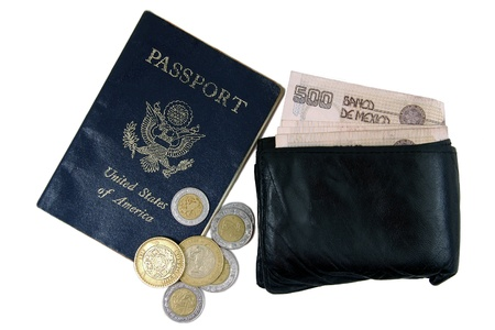 overseas visa: US passport, wallet, and Mexican pesos on white background Stock Photo