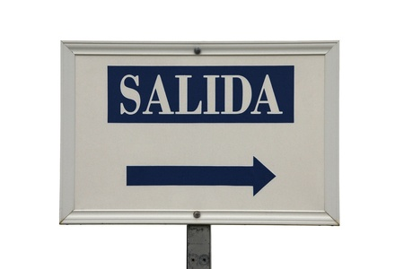 Salida exit sign on white background photo