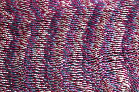 merida: Closeup detail of red, purple, white mexican mayan hammock
