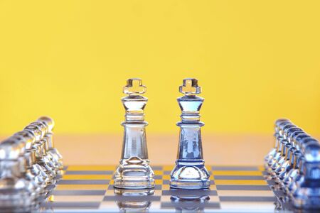 Two king chess pieces face off to each other with an army of pawns behind them. Reklamní fotografie - 12013359