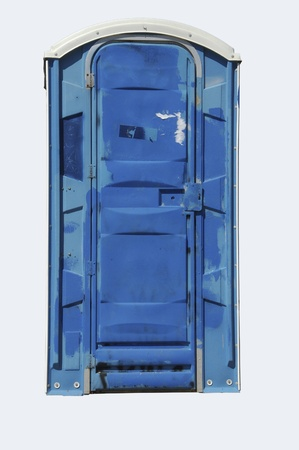 outhouse: Blue outhouse isolated on white background