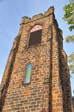 episcopal: Gothic style architecture of tower of the Episcopal church in Vineland, New Jersey Stock Photo