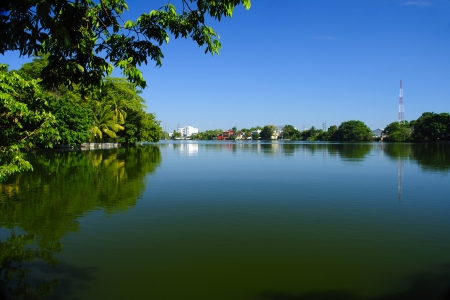 Tropical lake in Villahermosa, Tabasco, Mexico Stock Photo