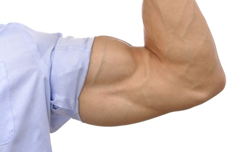 Closeup of flexed arm of muscular man with sleeve rolled up on white background