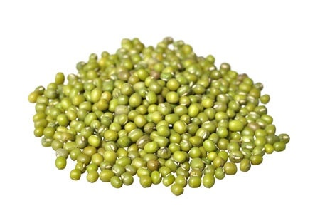 green bean: Pile of raw green mung beans isolated on white