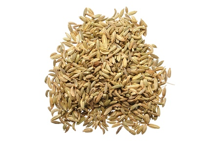 Pile of raw fennel seeds isolated on white Stok Fotoğraf