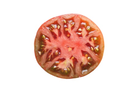 indeterminate: Half sliced black krim heirloom tomato isolated on white