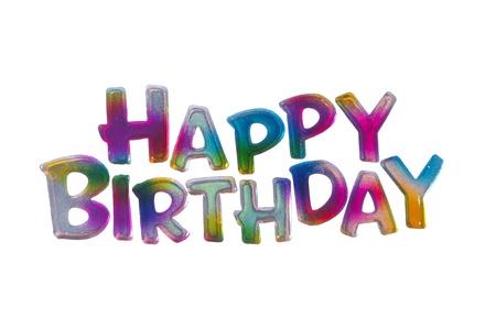 Coloful Gelukkige Verjaardag woorden geïsoleerd op witte achtergrond