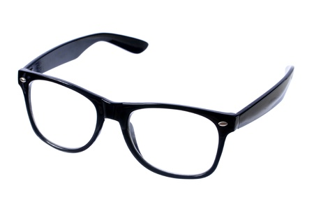 Closeup pair of glasses with black frame isolated on white