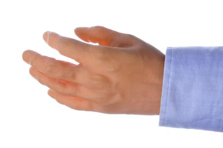 the sleeve: Closeup of fake plastic hand and blue sleeve isolated on white Stock Photo