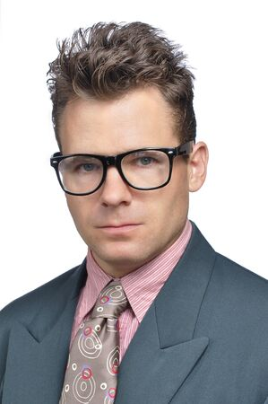 hair tie: Closeup of nerdy executive businessman with messy hair style and clashing suit Stock Photo