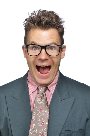 messy clothes: Closeup of excited nerdy businessman in clashing business suit on white background