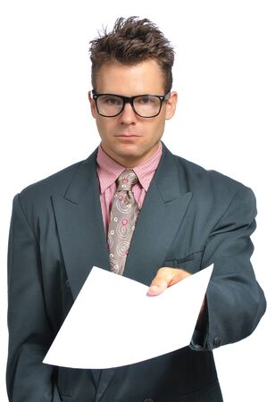 eccentric: Eccentric fashionable businessman turns in resume or report with copy space