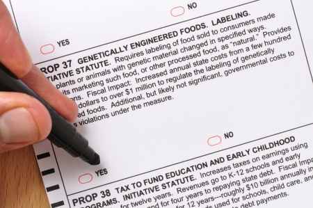 Closeup of man about to mark vote for labeling genetically engineered foods on prop 37 ballot Stock Photo - 16309025