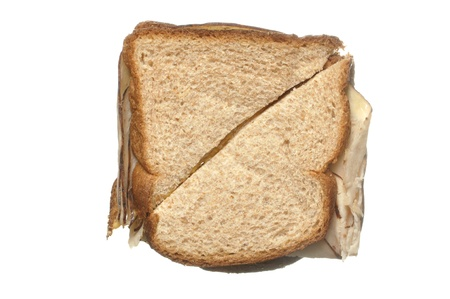 glycemic: Closeup of simple lunch meat sandwich on wheat bread Stock Photo