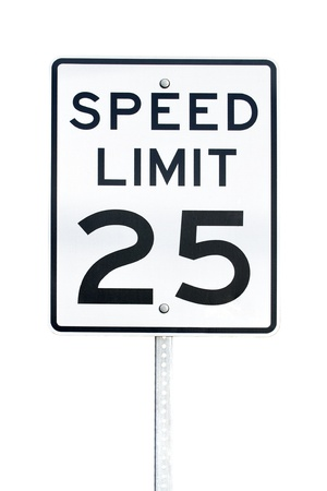 Speed limit 25 sign with post isolated on white background