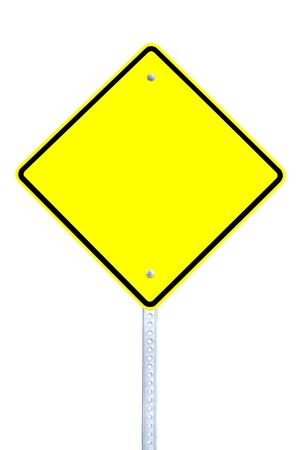 Blank yellow warning sign isolated on white background photo