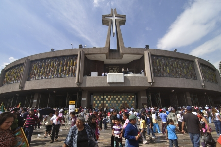 each year: MEXICO CITY - DECEMBER 12, 2012: The basilica of Our Lady of Guadalupe in Mexico City reports record attendance of over six million faithful visitors on December 12, 2012.  Millions make the pilgrimage each year to celebrate the apparition of the Virgin t Editorial