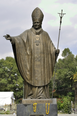 representations: Beautiful big statue of Pope John Paul II at the Basilica of Guadalupe in Mexico City on December 12, 2012