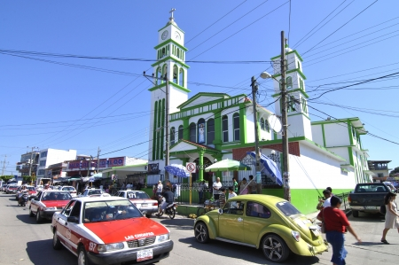 Las Choapas, Veracruz, Mexico - December 28, 2012: The holidays bring heavier than usual traffic to downtown Las Choapas, Veracruz, Mexico on December 28, 2012 Stock Photo - 17063292