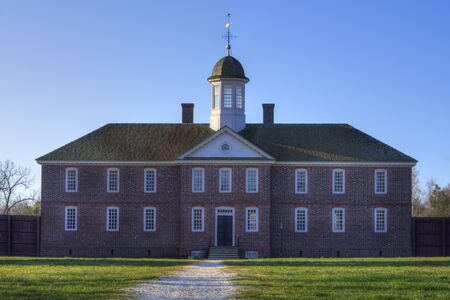 public hospital: Facade and front yard of public hospital in Colonial Williamsburg, Virginia Editorial